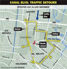 New Orleans Street Map by Travelers Beware Detours To Start Monday For Canal Street City