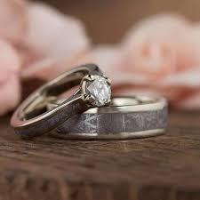 wedding ring set meteorite wedding ring set with white gold and titanium 3771