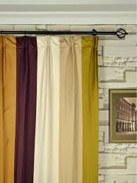 Yellow Faux Silk Curtains Silver Bold Stripe Versatile Pleat Faux Silk Curtains