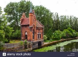 fairytale red brick house castle in kaliningrad russia stock