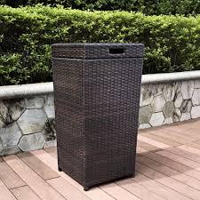 amazon com crosley palm harbor outdoor wicker trash bin brown