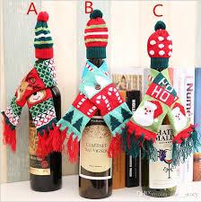 wine bottle bag set santa claus scarf hat pattern bottle