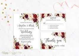 summer wedding invitations marsala wedding invitation printable burgundy wedding