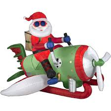 amazon com christmas inflatable animated airplane santa by gemmy