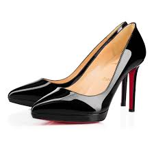 christian louboutin pigalle plato patent leather black red