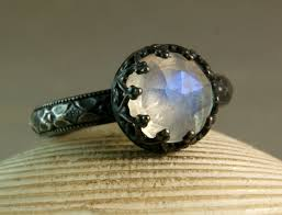 Moonstone Wedding Ring by Faceted Moonstone Ring Engagement Ring Oxidized Silver Blue