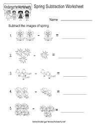 free printable spring subtraction worksheet for kindergarten