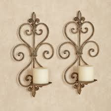 Gold Wall Sconces For Candles Charles Wrought Iron Wall Sconce Pair