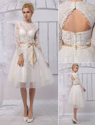 Knee Length Wedding Dresses Knee Length Lace Illusion Neckline Long Sleeves Back Keyhole