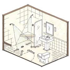 design bathroom layout would we room for an open shower with drain floor only