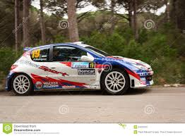 peugeot 206 rally peugeot 206 s1600 during rally vidreiro 2012 editorial image