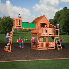 cedar swing sets horizon w riviera roof wooden playset with