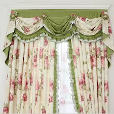 Shabby Chic Valance by Chic Curtain With Floral Pattern And Green Color
