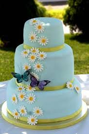 wedding cake gum three tier light blue fondant wedding cake decorated with