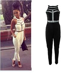 white jumpsuits and rompers for shipping 2014 fashion yarn splicing halter jumpsuit ft691 in