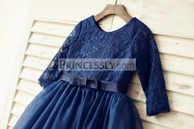 long sleeves navy blue lace tulle flower dress
