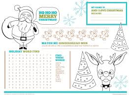 kids placemats free printable christmas activity placemats for kids