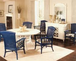 nice home with wicker dining chairs indoor elegant blue painted