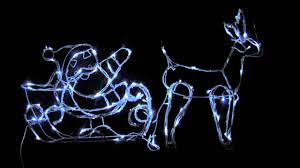 lights 3d cool white santa sleigh u0026 reindeer 1 1m youtube