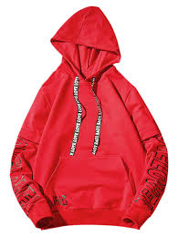 red 5xl letter print drawstring graphic hoodie rosegal com