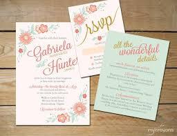 Mint Wedding Invitations Romantic Floral Wedding Invitation Printable Diy Printable