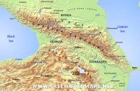 Asia On Map by Caucasus Mountains Map