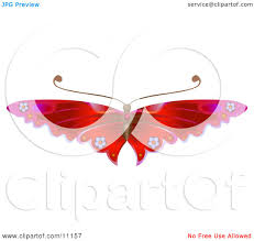 gorgeous red butterfly with flower decoration on the wings clipart