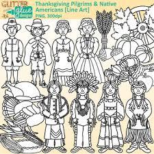 thanksgiving clip pilgrim american graphics b w
