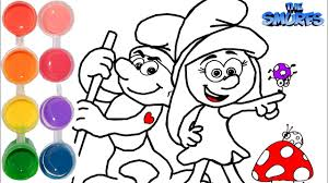 how to draw u0026 color the smurfs learn coloring pages tutorial