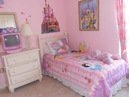bedroom small kids ideas with pink wall paint and disney theme