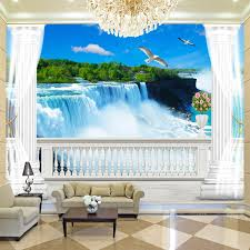 online get cheap nature paintings wallpaper aliexpress com custom wallpaper mural 3d balcony roman column background wall painting living room waterfall natural scenery photo
