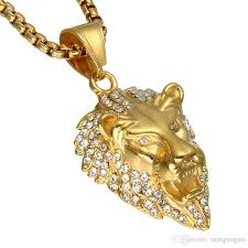 animal gold necklace images Wholesale hip hop gold color lion head men pendant necklace ice jpg