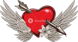 Hearts With Wings - with wings vector t shirt design royalty free stock image