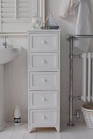 maine slim freestanding bathroom cabinet with 3 drawers for