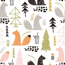 squirrel wrapping paper seamless pattern with squirrel trees creative woodland height
