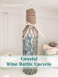 Upcycle Crafts - coastal wine bottle upcycle hometalk