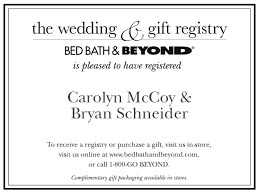 wedding registry inserts bed bath beyond