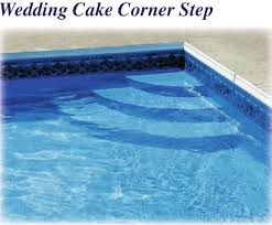 wedding cake pool steps latham polymer corner wedding cake step 2ft radius st9004 royal