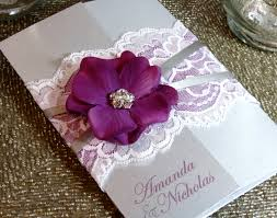 summer vintage lace wedding invitation purple and silver wedding