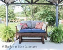 Patio Loveseat Glider Outdoor Loveseat Glider Shades Of Blue Interiors