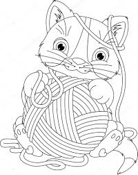 kitten with yarn ball coloring page u2014 stock vector malyaka