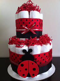 Diaper Centerpiece For Baby Shower by 2 Tier Mini Ladybug Diaper Cake Lady Bug By Babeecakesboutique