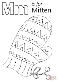 letter m is for mitten coloring page free printable coloring pages