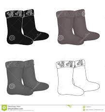 winter felt boots icon in cartoon style on white background