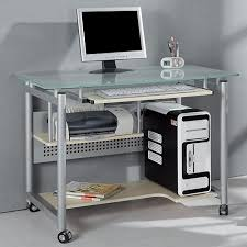 Metal And Glass Computer Desks Rolling Computer Desk Glass And Silver Colored Metal Walmart