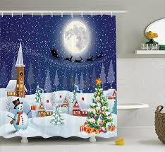 Santa Curtains Amazon Com Reindeer Christmas Shower Curtain Extra Long Christmas