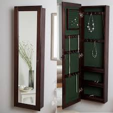 mirror jewelry armoires wall mounted locking wooden jewelry armoire 14 5w x 50h in