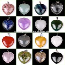 crystal heart necklace wholesale images Wholesale assorted semi precious stone puffy love heart shaped jpg