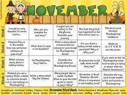 thanksgiving writing prompt calendar common standards