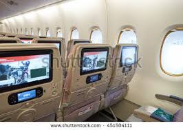 Airbus A 380 Interior Emirates Airbus A380 Economy Class Seats Stock Images Royalty